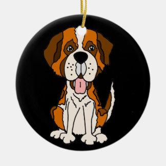 Funny Saint Bernard Puppy Dog Art Round Ceramic Decoration
