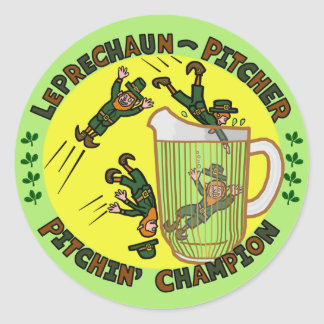 Funny Saint Patrick s Day Leprechaun Pitcher Round Stickers