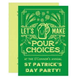 Funny Saint Patrick's Day Green Irish Beer Party Card