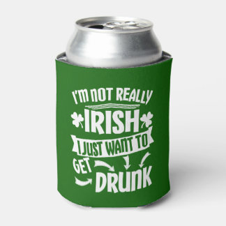 Funny Saint Patricks Day I'm Not Really Irish Beer Can Cooler