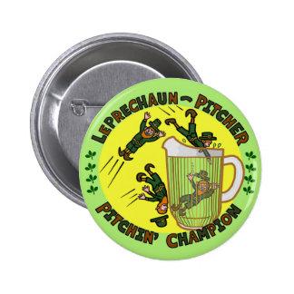 Funny Saint Patrick's Day Leprechaun Pitcher 6 Cm Round Badge