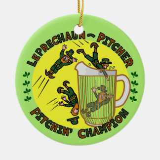 Funny Saint Patrick's Day Leprechaun Pitcher Christmas Tree Ornaments