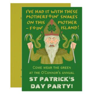 Funny Saint Patrick's Day Snakes Joke Irish Party Card