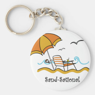 Funny Sand Sational Beach Basic Round Button Key Ring