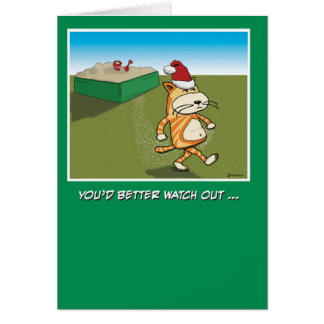 Funny Sandy Claws Cat Christmas Greeting Card