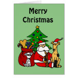 Funny Santa and Puppy Dogs Christmas Art Greeting Card