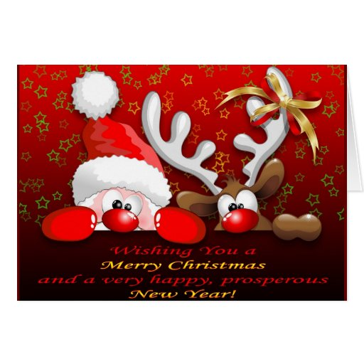 Funny santa and reindeer cartoon card zazzle for Funny reindeer christmas cards