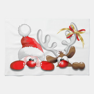 Funny Santa and Reindeer Cartoon kitchen towel