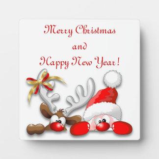 Funny Santa and Reindeer Cartoon Plaque