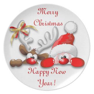 Funny Santa and Reindeer Cartoon Plate