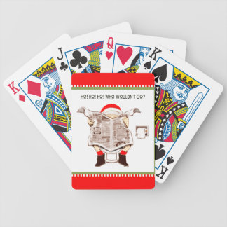 Funny Santa Bicycle Playing Cards