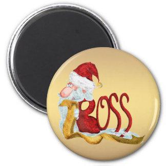 Funny Santa boss Christmas 6 Cm Round Magnet