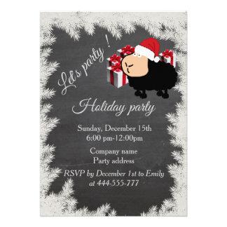 Funny Santa cartoon sheep Chalkboard holiday party 13 Cm X 18 Cm Invitation Card