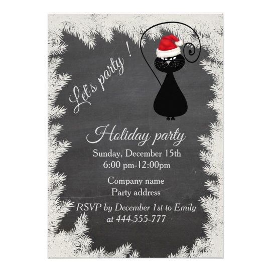 Funny Santa cat Chalkboard corporate holiday party 13 Cm X 18 Cm Invitation Card