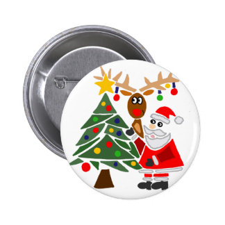 Funny Santa Claus And Reindeer Abstract 6 Cm Round Badge