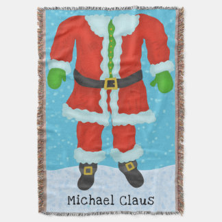 Funny Santa Claus Body Novelty Christmas Add Name Throw Blanket