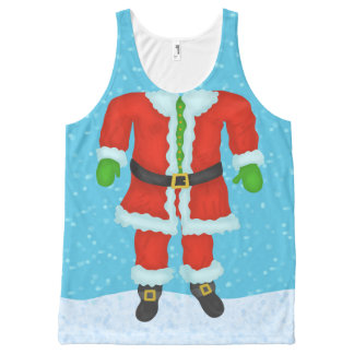 Funny Santa Claus Body Novelty Christmas Holiday All-Over Print Singlet