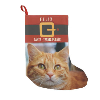 Funny Santa Claus Cat Photo and Name Personalized Small Christmas Stocking