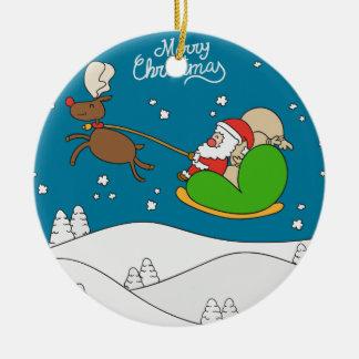 Funny Santa Claus Christmas greeting Ornaments