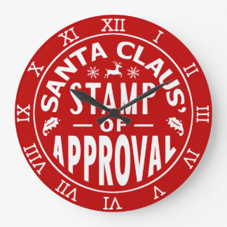 Funny Santa Claus Christmas Stamp of Approval Wall Clocks