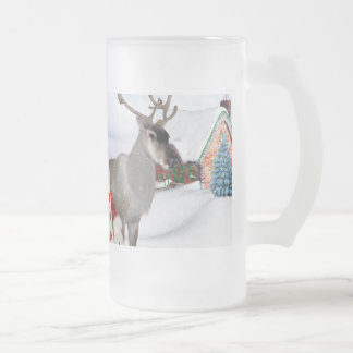 Funny Santa Claus Frosted Glass Beer Mug