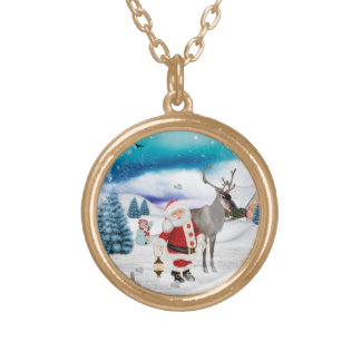 Funny Santa Claus Gold Plated Necklace