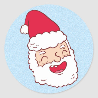 Funny Santa Claus laughing his head off Classic Round Sticker