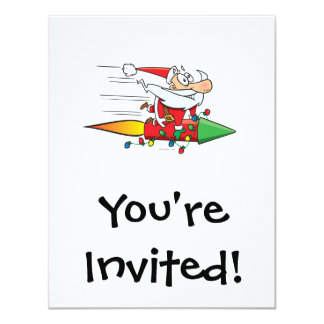 funny santa claus on a rocket cartoon 11 cm x 14 cm invitation card
