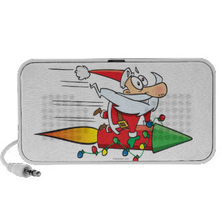 funny santa claus on a rocket cartoon travelling speakers