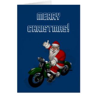 Funny Santa Claus On Green Vintage Motorbike Card