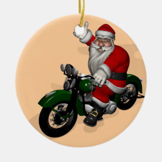 Funny Santa Claus On Green Vintage Motorbike Ceramic Ornament