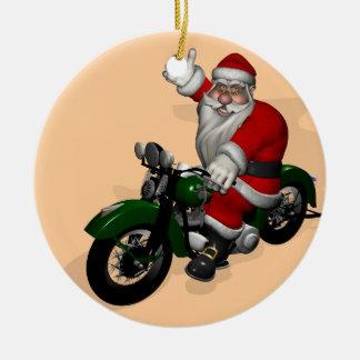 Funny Santa Claus On Green Vintage Motorbike Round Ceramic Decoration