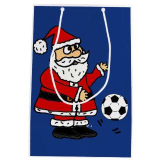 Funny Santa Claus Playing Soccer Gift Bag