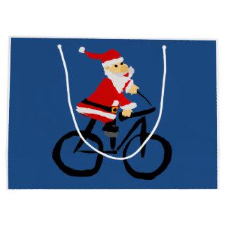 Funny Santa Claus Riding Bicycle Art Large Gift Bag