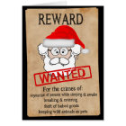Funny Santa Claus Wanted Poster Card