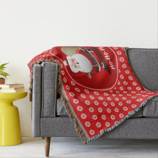 Funny Santa Claus With A Sack Full Of Gifts Throw Blanket