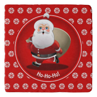 Funny Santa Claus With A Sack Full Of Gifts Trivet