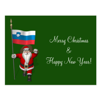 Funny Santa Claus With Ensign Of Slovenia Postcard
