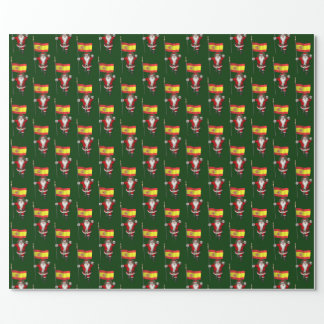 Funny Santa Claus With Ensign Of Spain Wrapping Paper