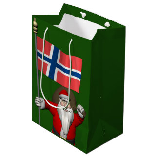 Funny Santa Claus With Flag Of Norway Medium Gift Bag