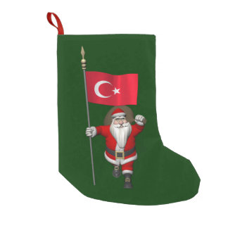Funny Santa Claus With Flag Of Turkey Small Christmas Stocking