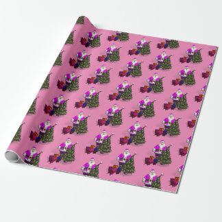 Funny Santa Claus With Pink Ribbons Christmas Tree Wrapping Paper