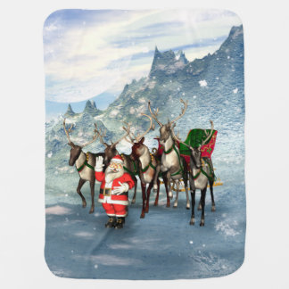 Funny Santa Claus with reindeer and sleigh Baby Blanket
