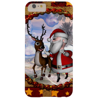 Funny Santa Claus with reindeer Barely There iPhone 6 Plus Case