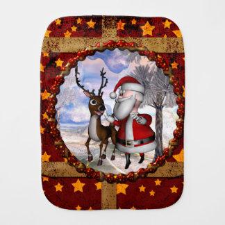 Funny Santa Claus with reindeer Burp Cloth