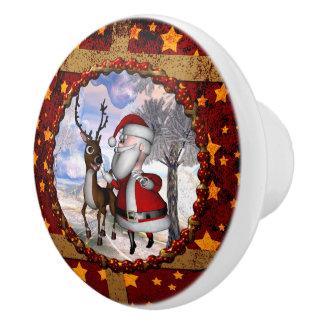 Funny Santa Claus with reindeer Ceramic Knob