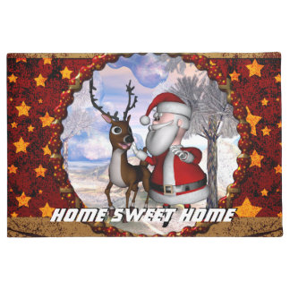 Funny Santa Claus with reindeer Doormat