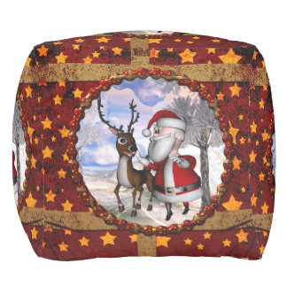 Funny Santa Claus with reindeer Pouf