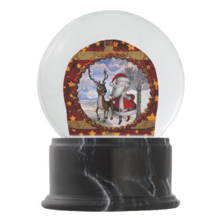 Funny Santa Claus with reindeer Snow Globes