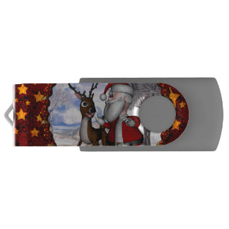 Funny Santa Claus with reindeer USB Flash Drive